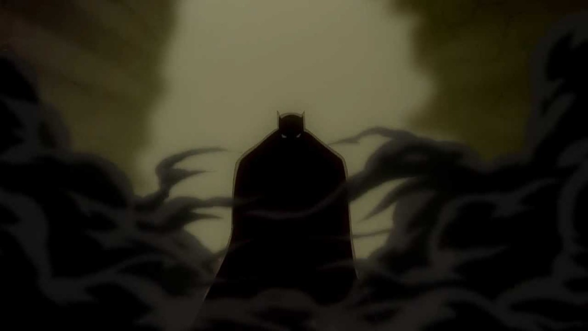 Batman confronting corrupt politicians and gangsters in Gotham City.
