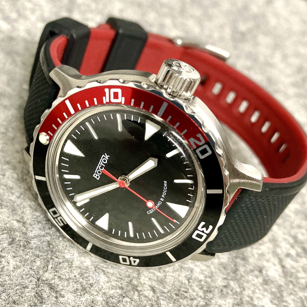 Vostok Amphibia SE on a black and crimson Barton Elite Silicone band