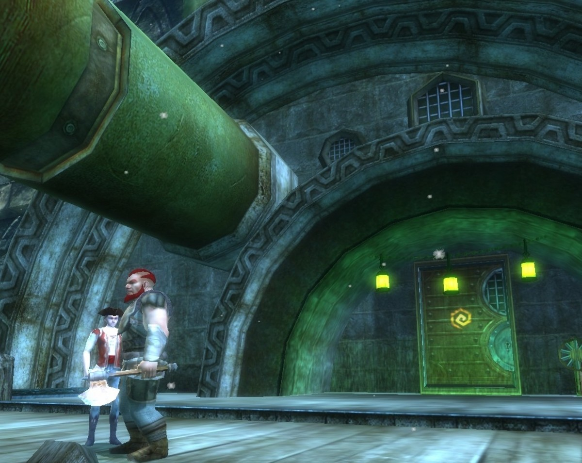 The harbormaster and an adventurer confer outside the entrance to one of several low level adventure areas in Stormreach: the Waterworks.
