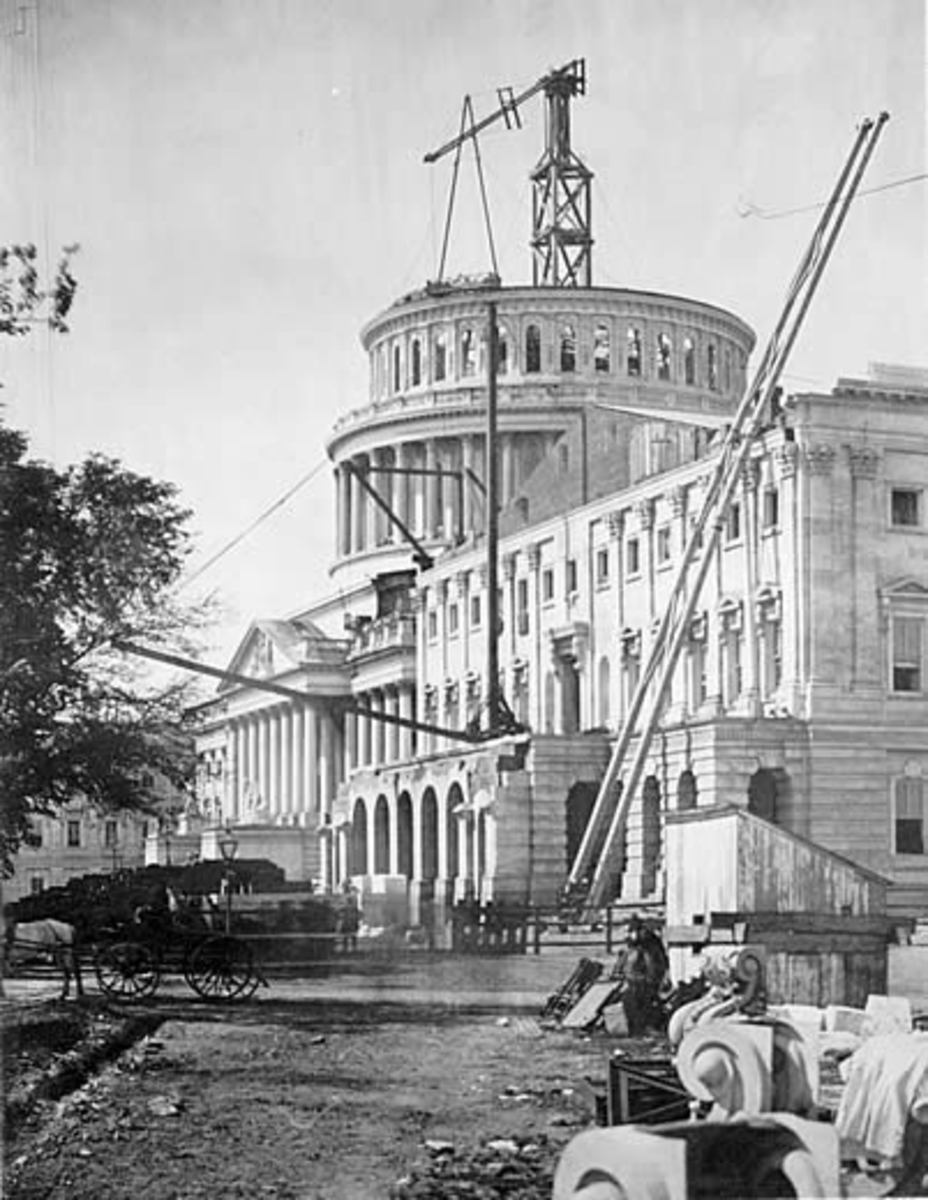The dome of Capitol Building was not completed in 1861.