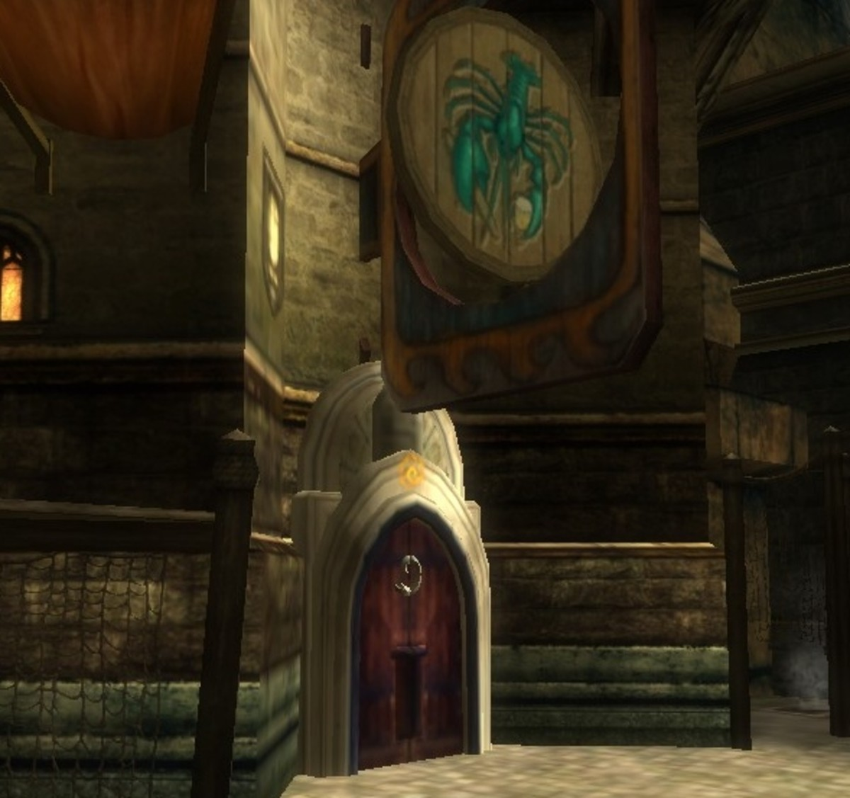 The entryway to the Wayward Lobster, a Stormreach Harbor tavern that features a busy PvP arena.