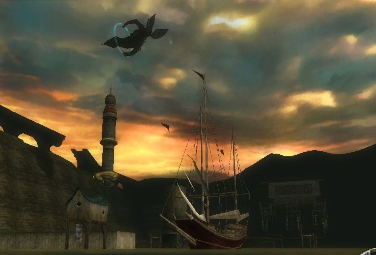An airship passes overhead as the sun sets in Stormreach Harbor.