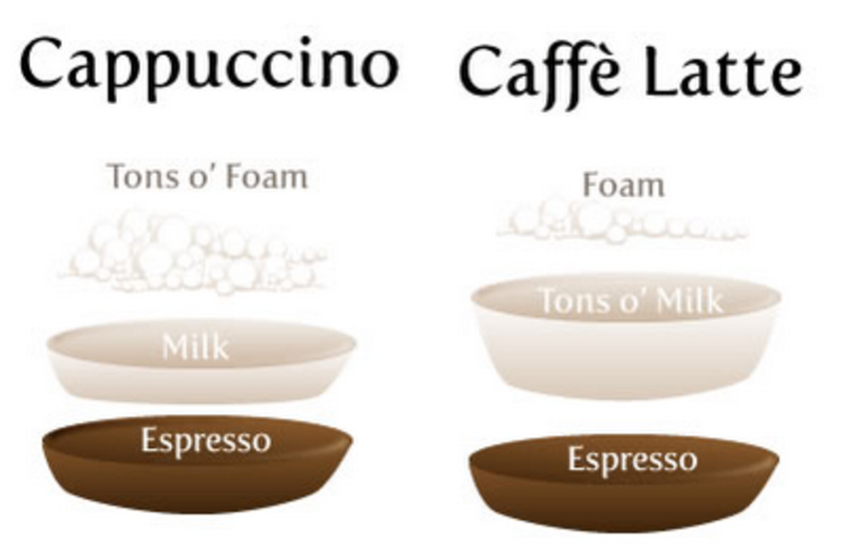 The difference in a cappuccino and a latte.