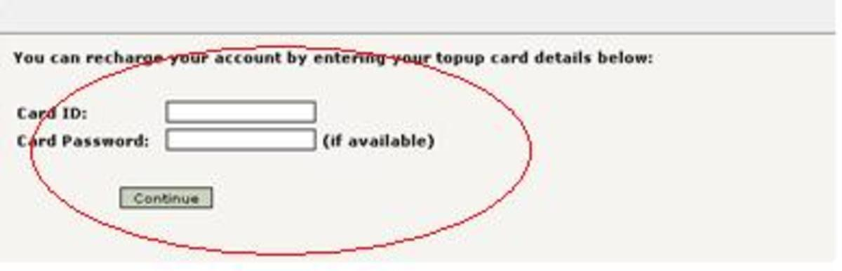 Enter your top-up card details