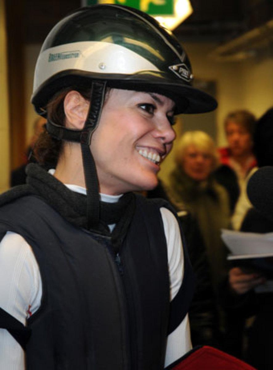 Tara Palmer Tomkinson in her horse riding helmet