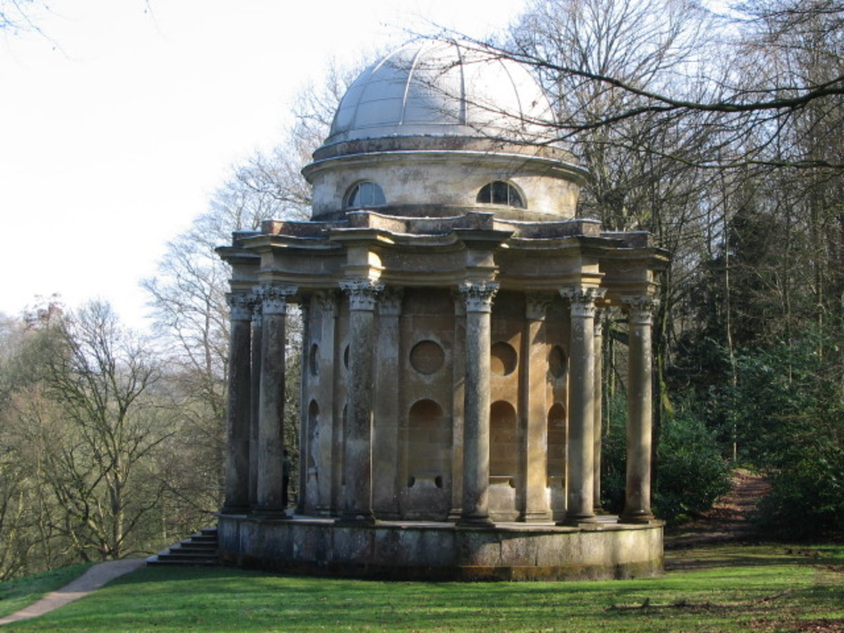 The Gardens at Rosings where Mr. Darcy proposed to Elizabeth in Pride and Prejudice are actually the Gardens of Stourhead.  This is the Temple of Apollo.