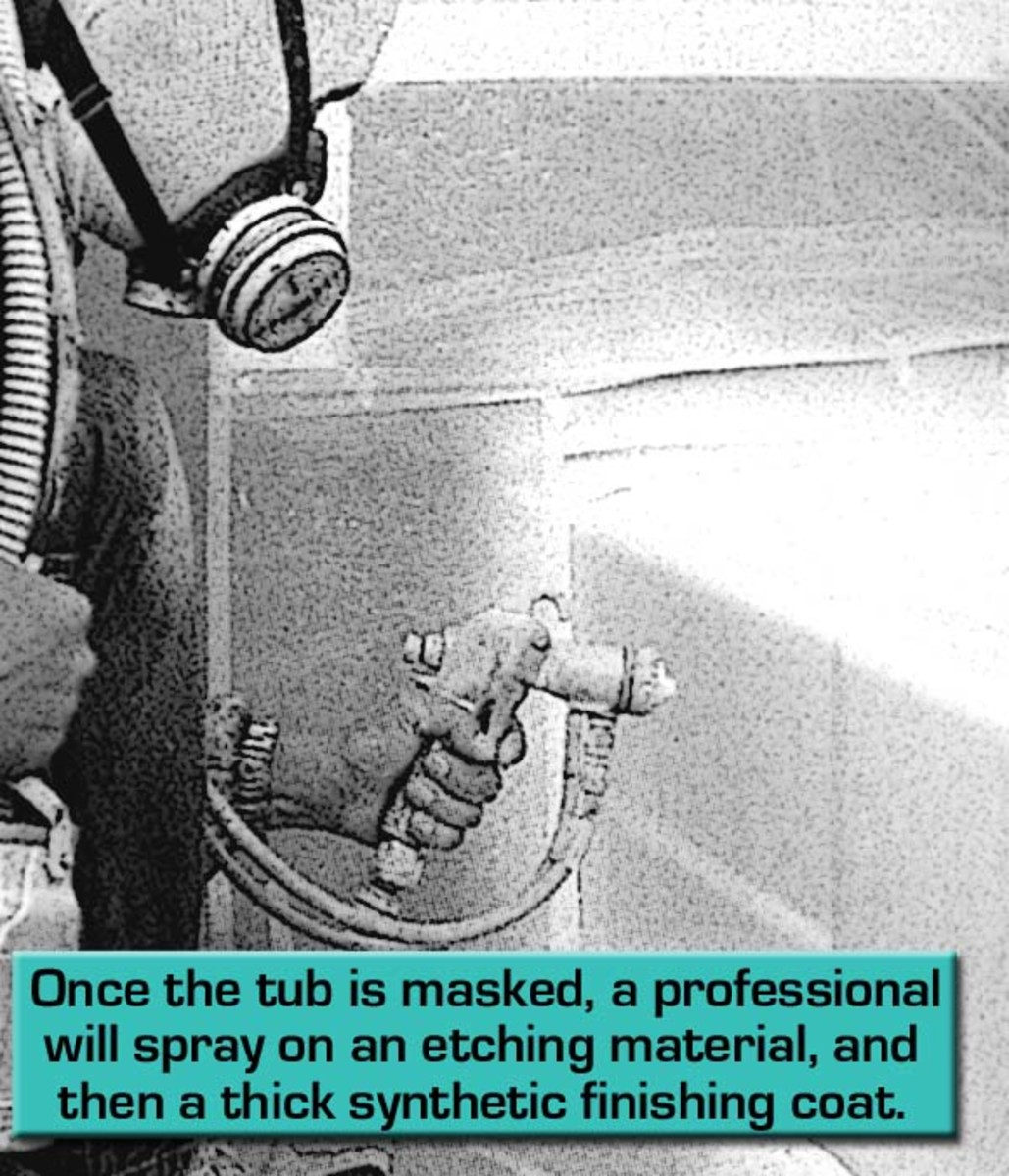 Refinishing a tub includes several applications of a plasticizing finish.