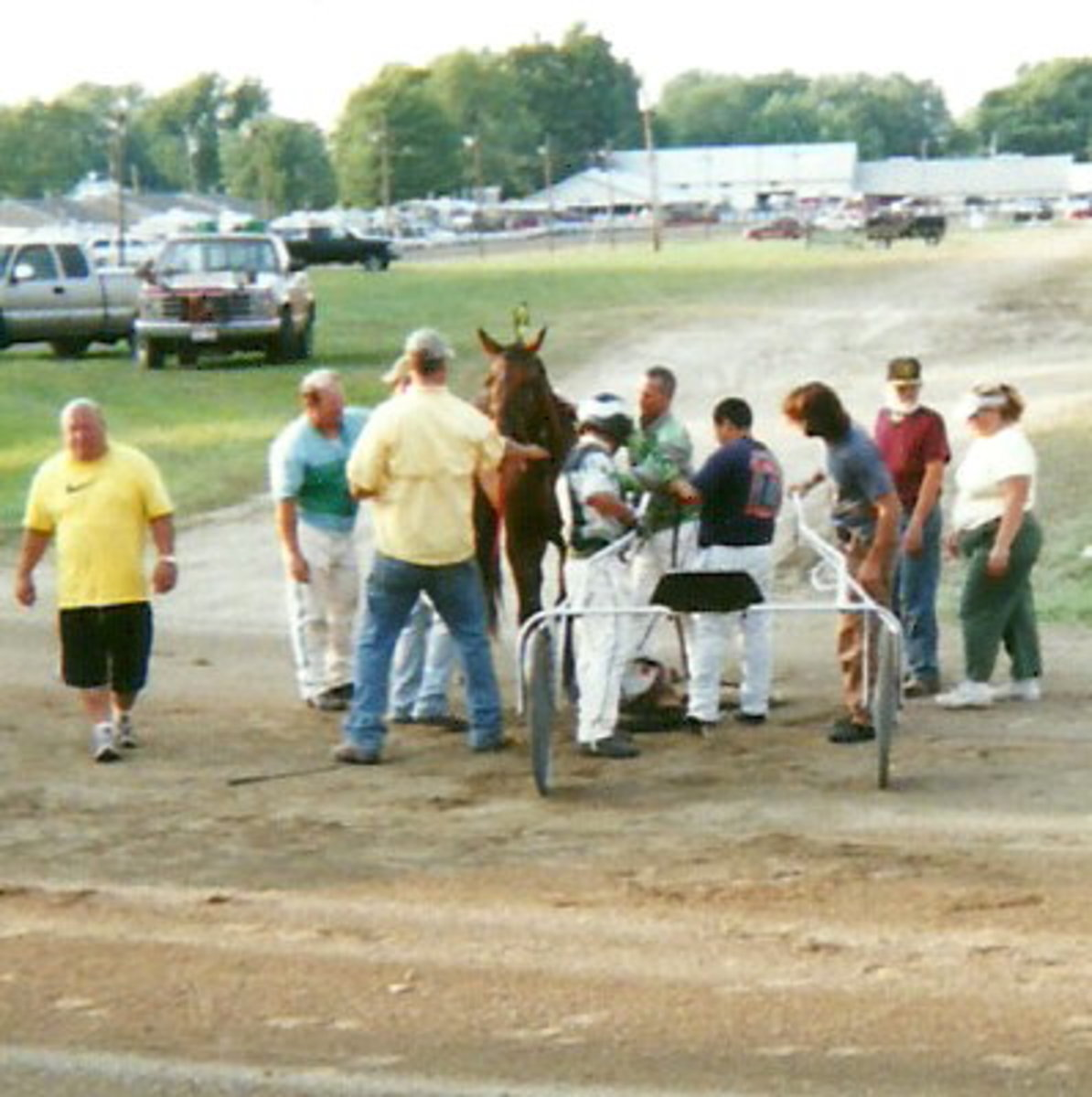 Fellow horsemen, handlers, and owners rushed to the track to assist in untangling reins and equipment and righting the frightened filly, who appeared unhurt.