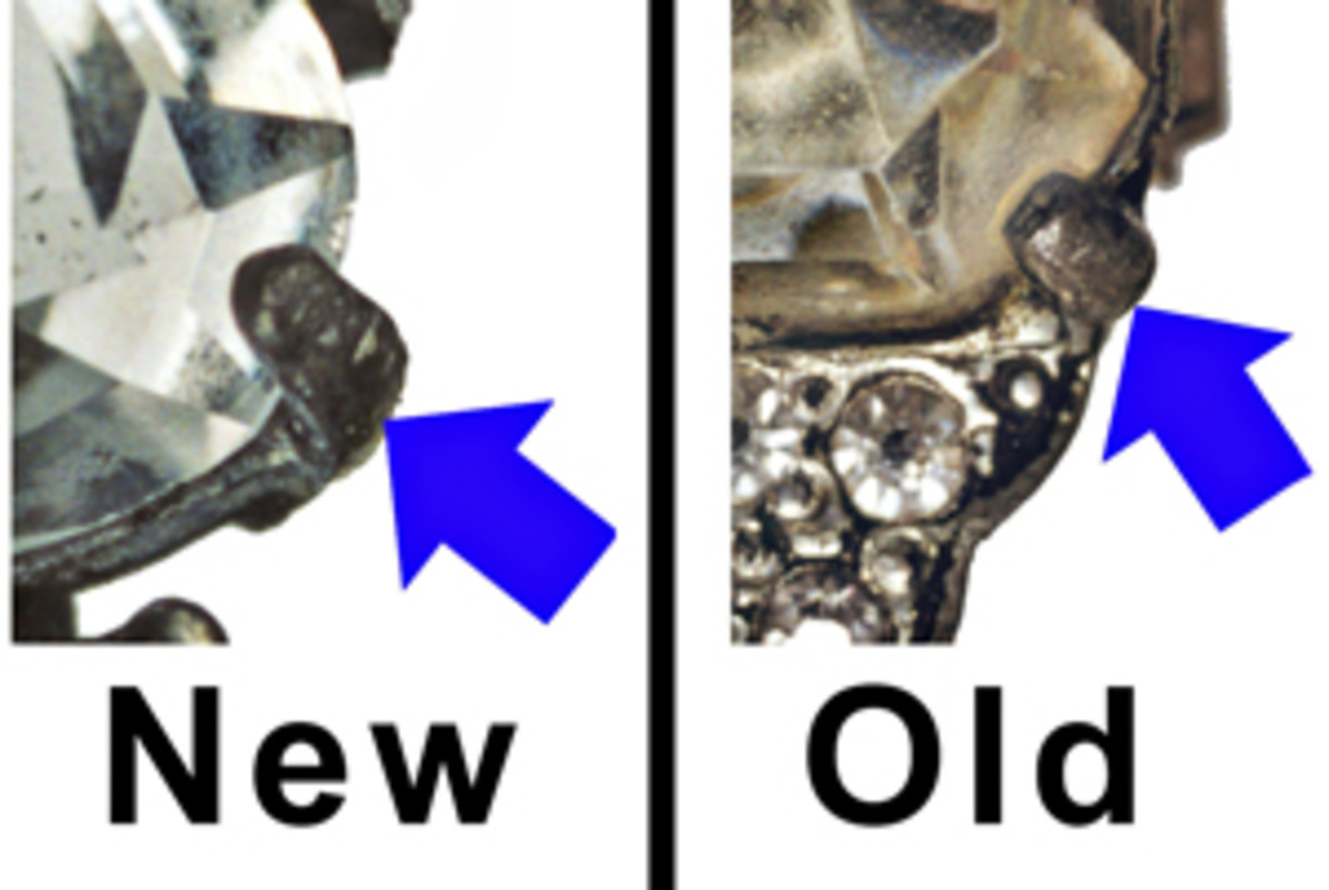 Fig. 2 Prongs on reproduction costume jewelry are wider, thicker and longer than original prongs. The new prongs shown  left extend almost to the top of the stone. Prongs on vintage jewelry are typically just long enough to hold the stones in place.