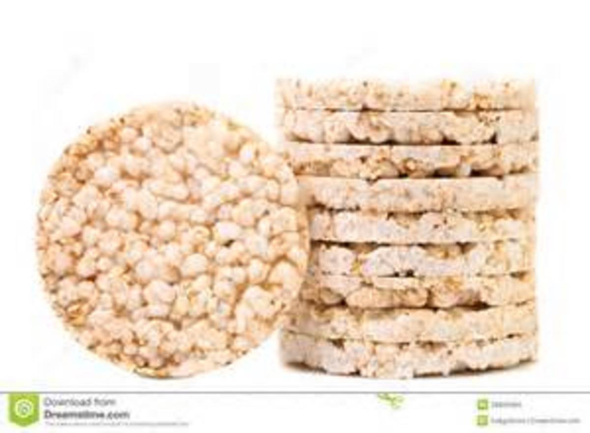 Tasty Rice Cakes - add thin slices of cheese and tomato with salad cream to make a tasty snack...