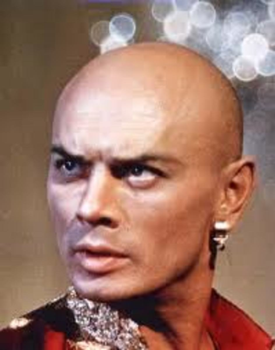 "Incredibly Hot and Bald Yul Brynner as Ramses in the movie ""The Ten Commandment"""