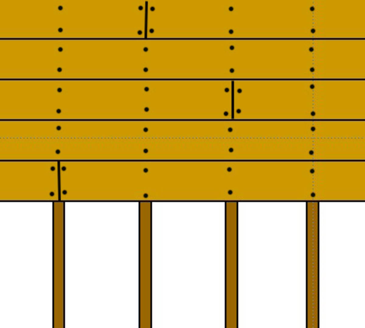 Fig 2. Example of staggered deck boards