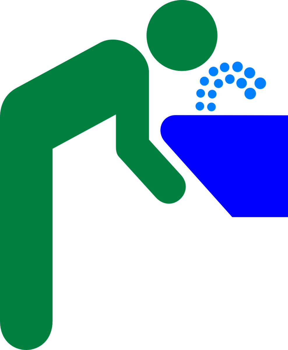 colorful clip art of a Drinking Fountain and a person using the bubbler