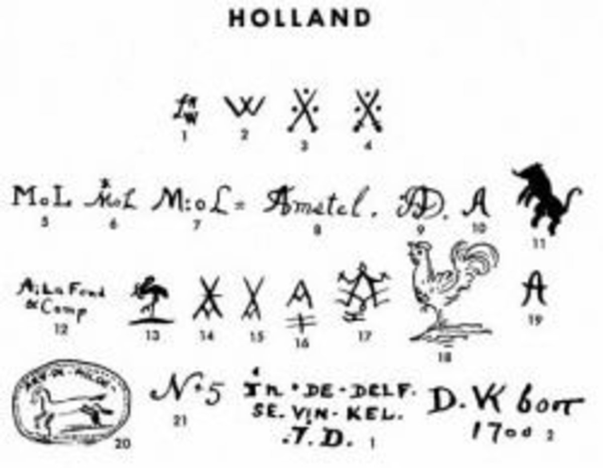Delft Pottery Marks and History and Information | HubPages