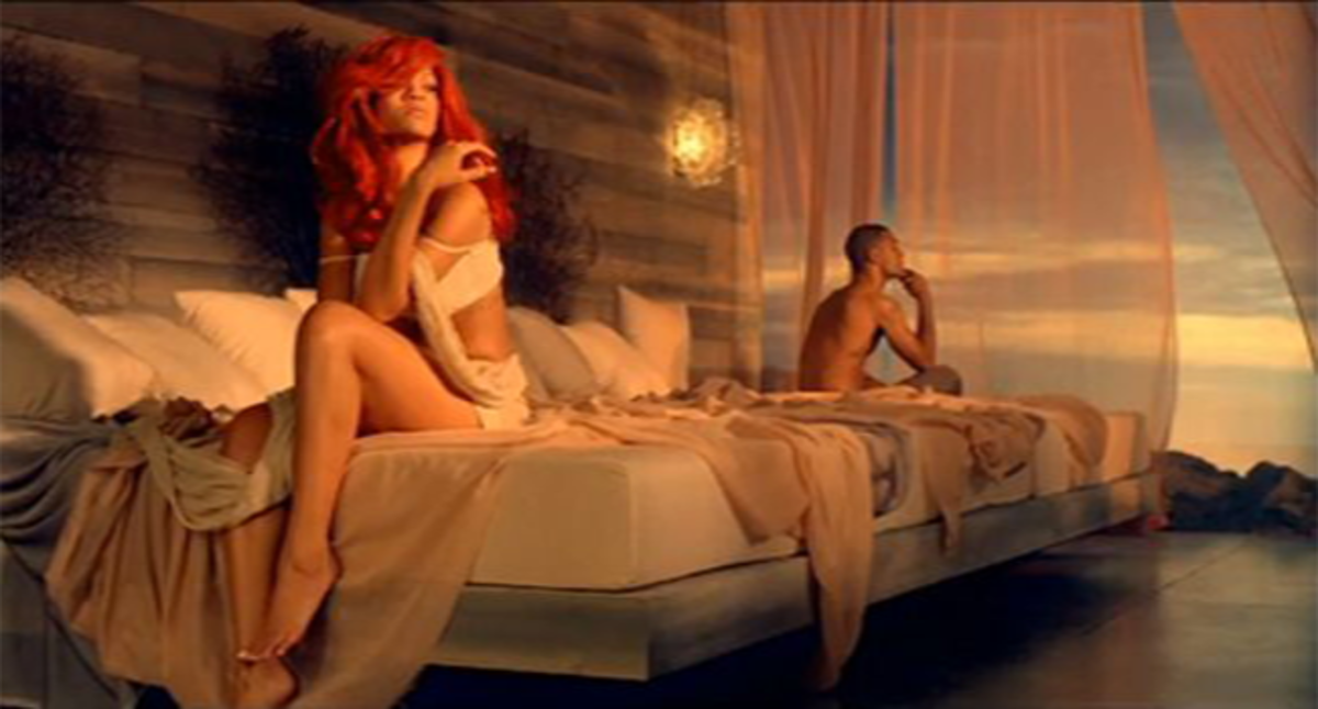 Rihanna's music video actually used a California king bed, not just the title but the bed size, in which she and her boyfriend in the story sits like they are strangers instead of lovers. The dimension of a California king bed is 183 cm × 213 cm.