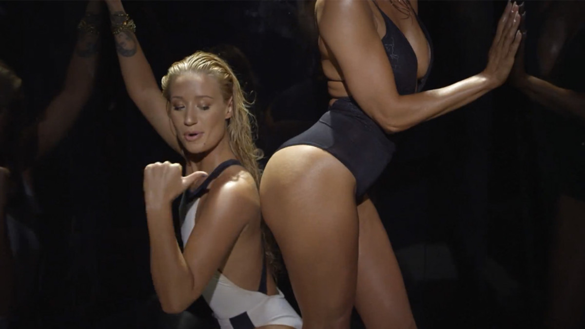 "The sizzling hot clip from the music video of ""Booty"" wherein J.Lo and Iggy Azalea dances their booties up against each other."