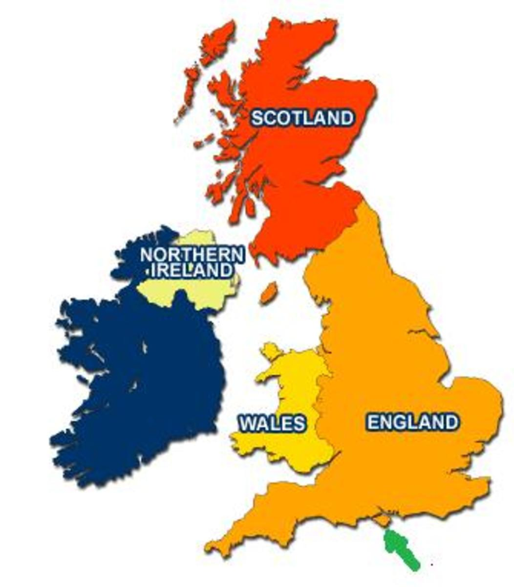 """The United Kingdom consists of the above-named countries: The green arrow points to the """"Isle Of White"""" which is part of the United Kingdom."""