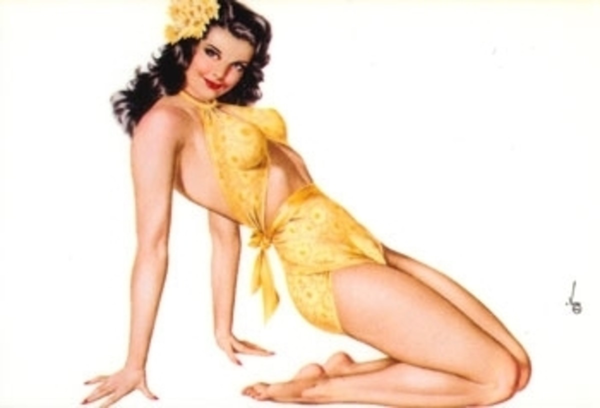 "A  pin-up girl in a classic ""pin-up"" pose; wearing a yellow jump suit!"