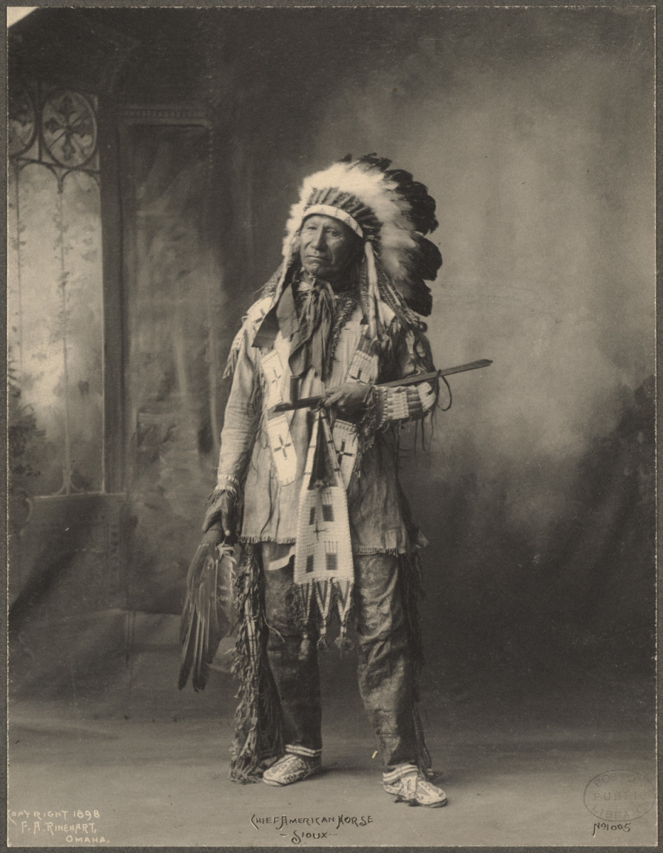 1898 - A Sioux Indian leader in traditional dress.