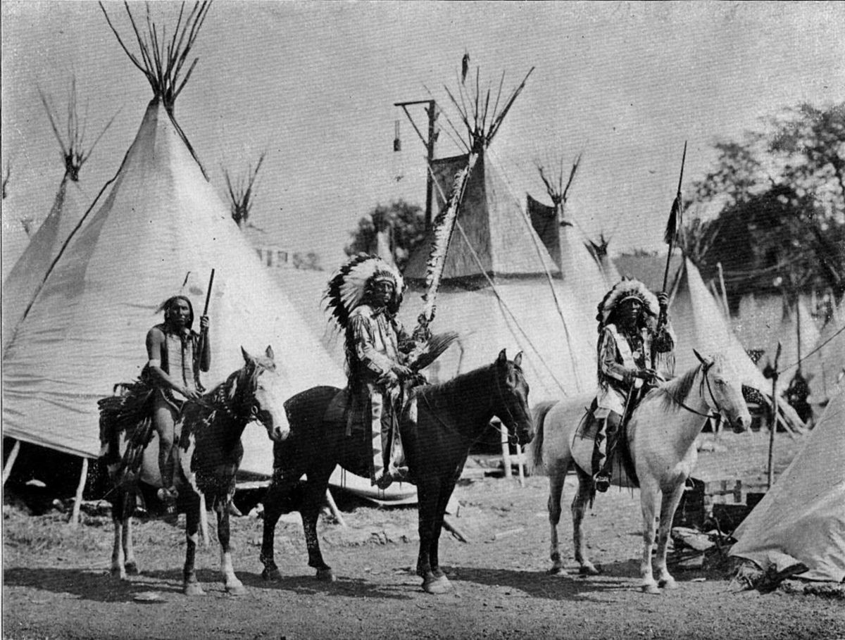1901 Pan American Exposition, from left to right: Chief Lone Elk, Sioux, Chief Red Cloud, the fierce war chief of the Sioux and Chief Hard Heart, another noted Sioux warrior