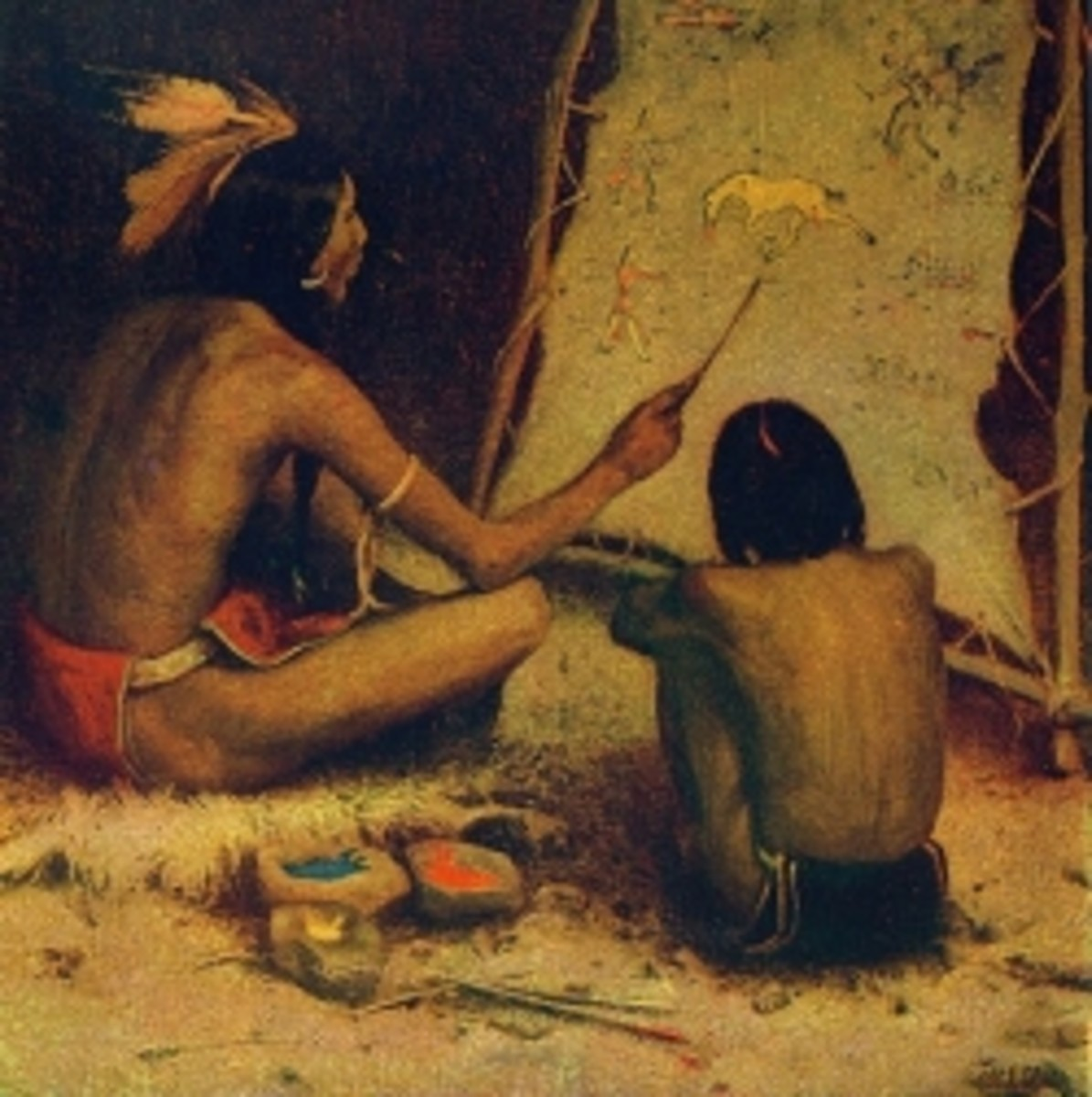 Native American picture writing was taught to the children of the tribe.