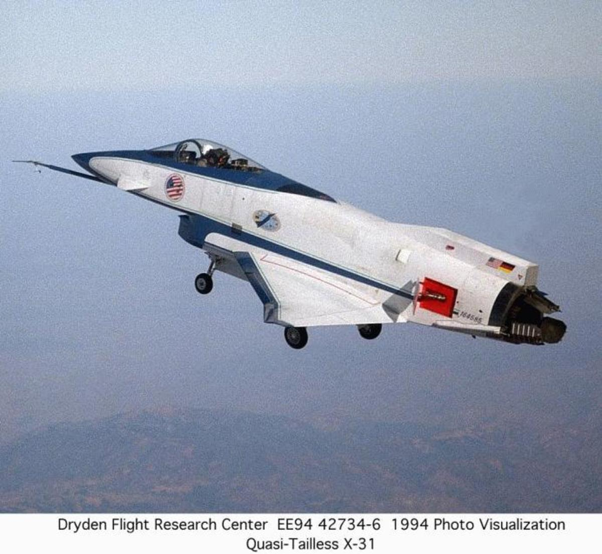 X-31 aircraft mid air.