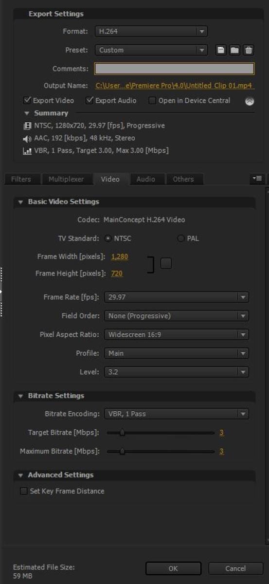 Video Settings screen shot