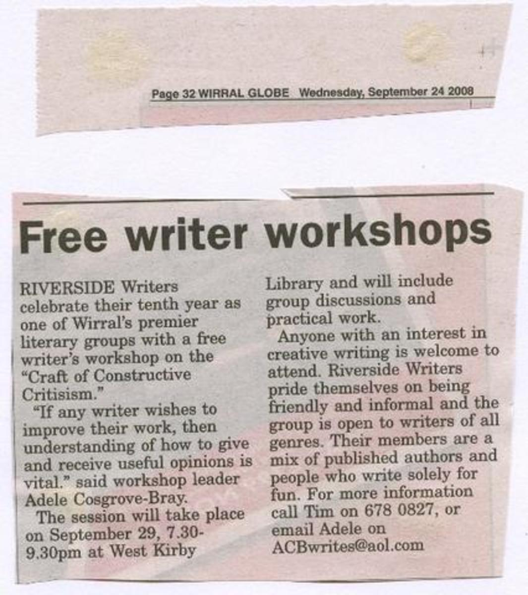 One of Riverside Writers workshops makes local headlines.