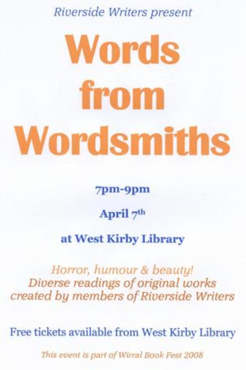 """""""Words from Wordsmiths"""", Riverside Writers' contribution to Wirral Bookfest 2008."""