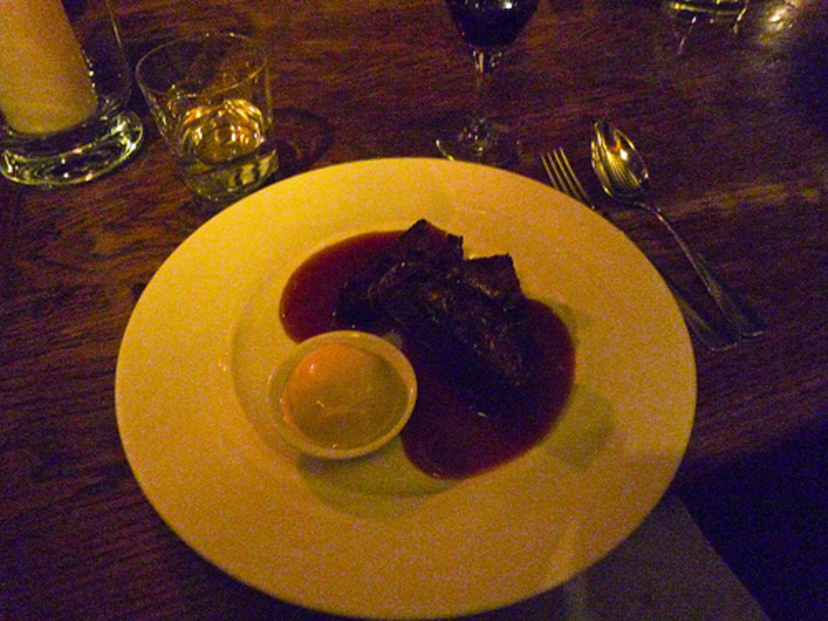 Lardy Cake and Whisky Sauce at  The Waterside, Bray a prestigious Thames side restaurant at Bray in Berkshire