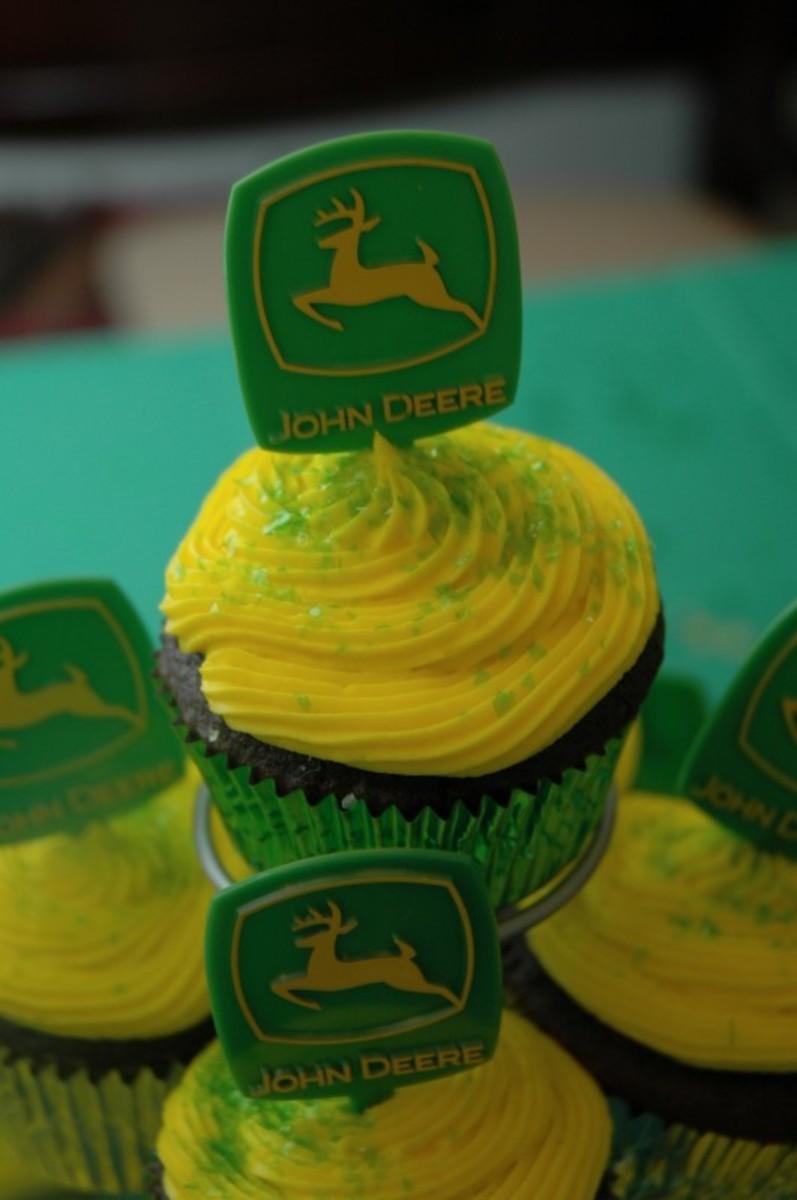 Yummy cupcakes with John Deere Cupcake picks!