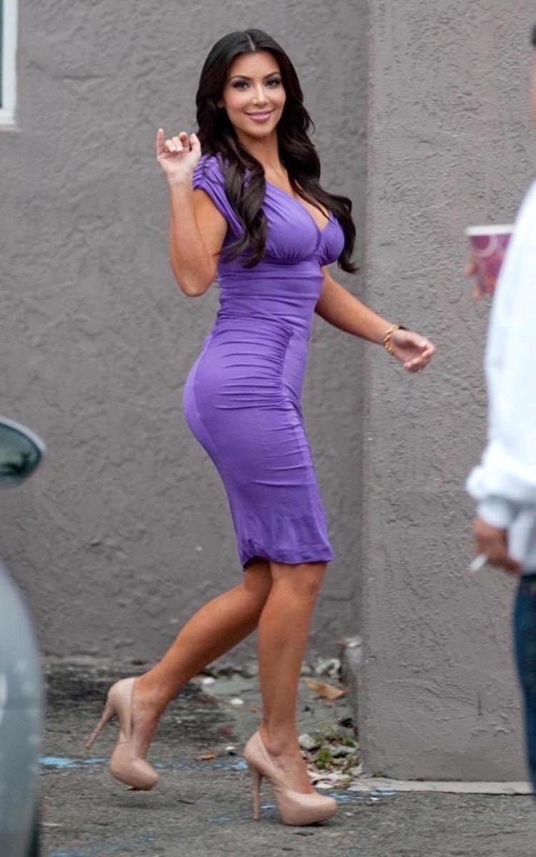 Kim Kardashian in a purple dress