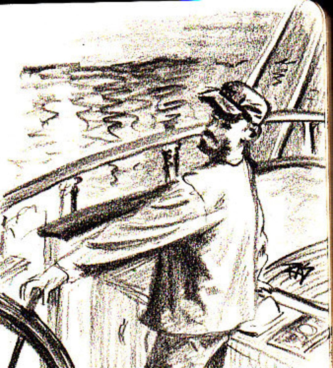 """The Boater"" 9B graphite pencil on Moleskine sketchbook, Robert A. Sloan"