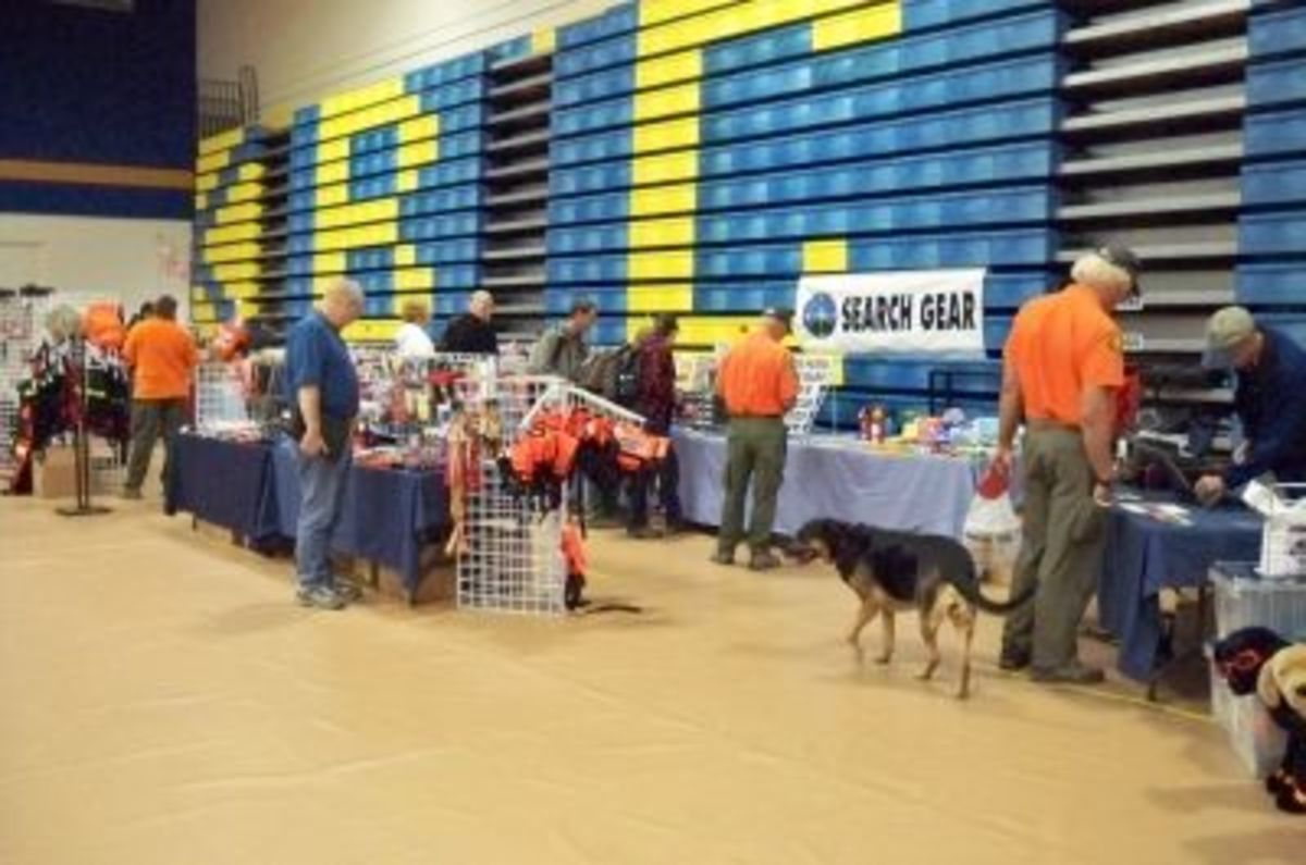 Vendors set up their wares around the gym, from technical rescue and K-9 equipment to general SAR and survival gear.