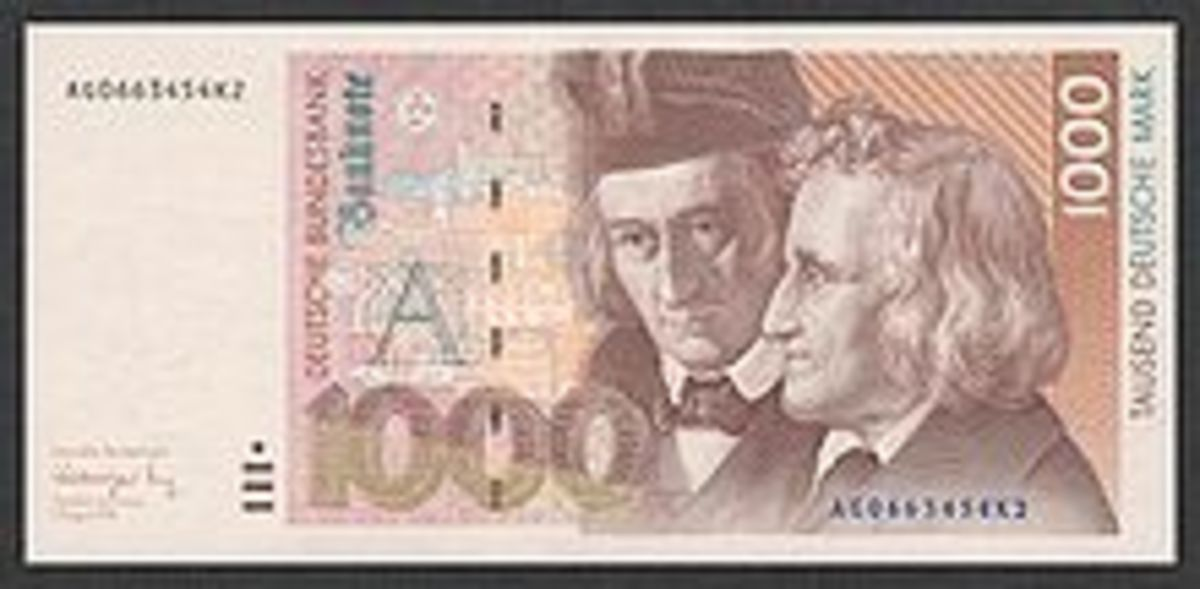 1000 Deutsche Mark that has the Grimm brother's likeness, first printed in 1992.
