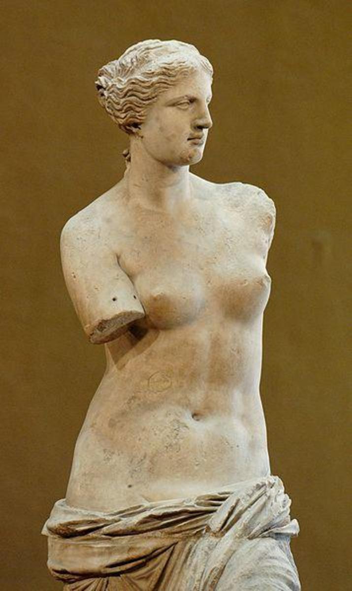 Venus de Milo, Roman Goddess of Love  (photo courtesy of WikiPedia.org -  http://en.wikipedia.org/wiki/File:Venus_de_Milo_Louvre_Ma399_n4.jpg)