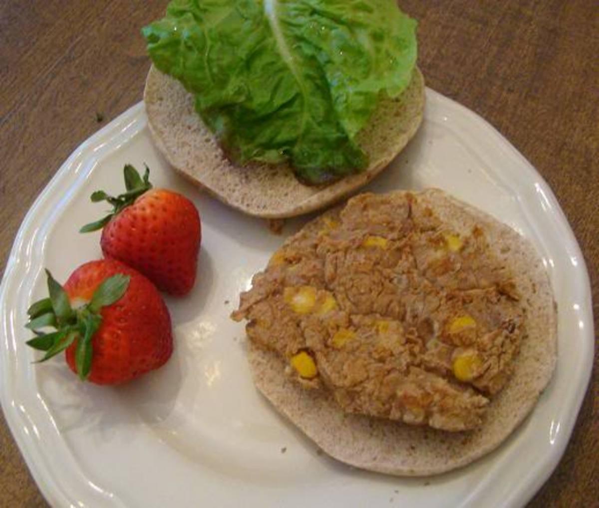 Bean and Corn Veggie Burger served on a thin bun.