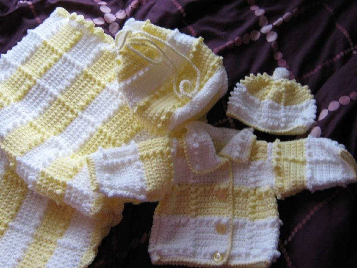 This baby layette I made for my great-niece; the pattern is on my Crochet Patterns for Childrenswear lens.