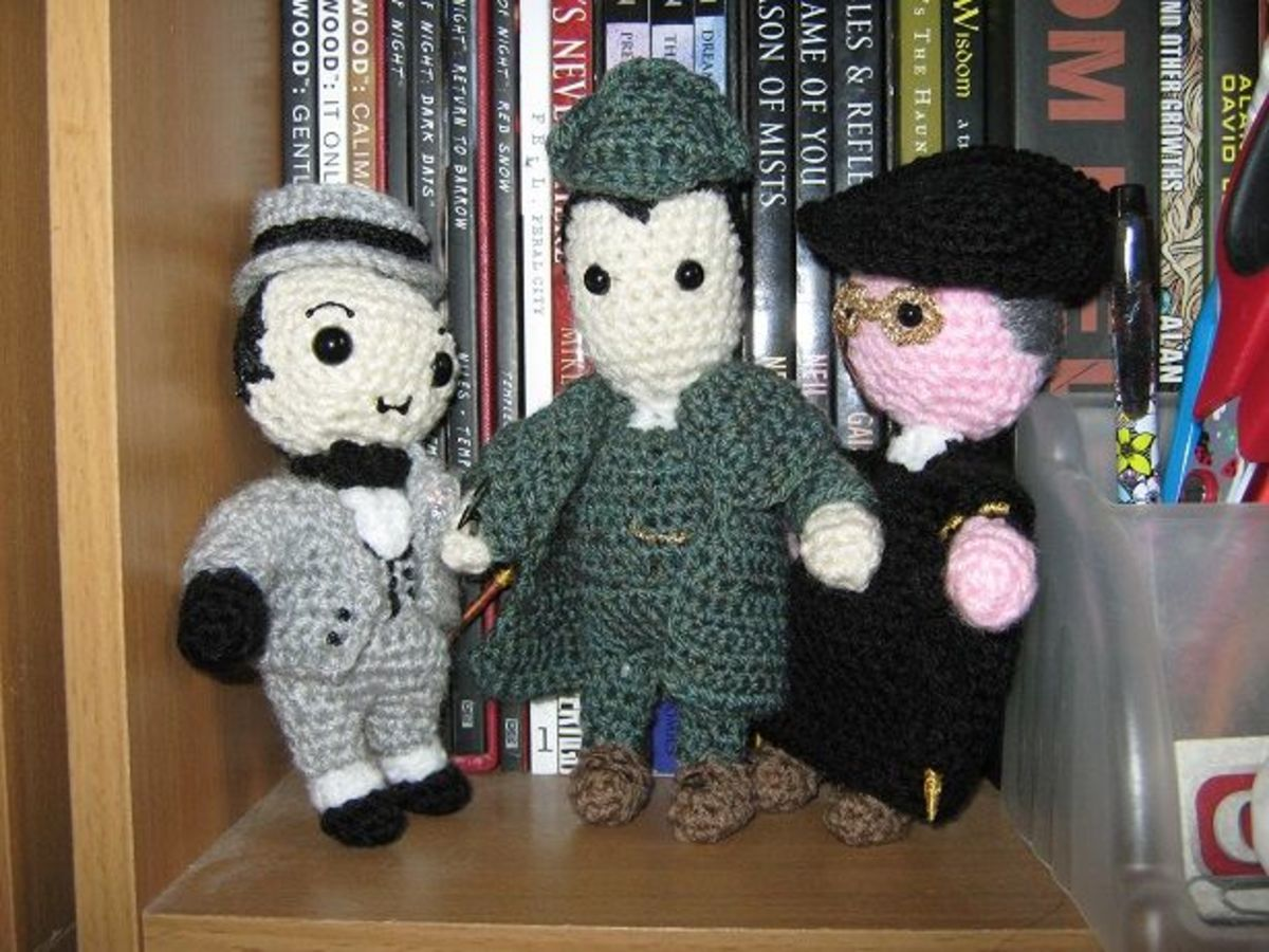 I am working on a set of 'chibi' Great British Detectives; here's Poirot, Holmes and Father Brown.