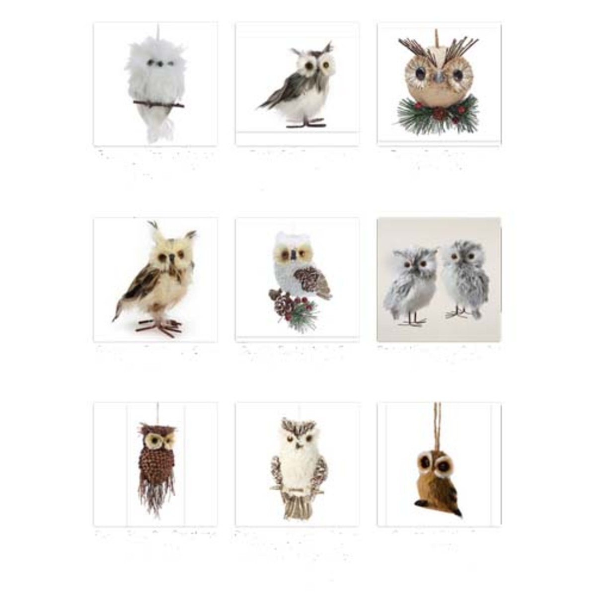 Some of the gorgeous owl Christmas ornaments available
