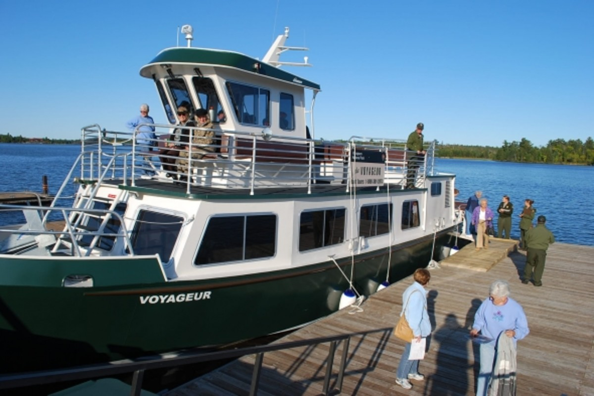 """The Voyageur"" a 49 passenger tour boat for Voyageurs National Park."