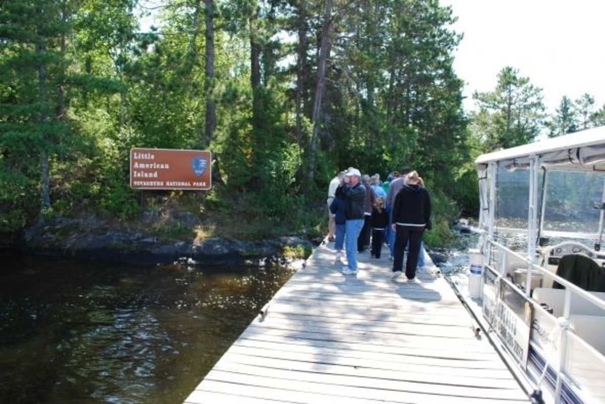 Visitors arrive at Little American Island to tour the defunct gold mine
