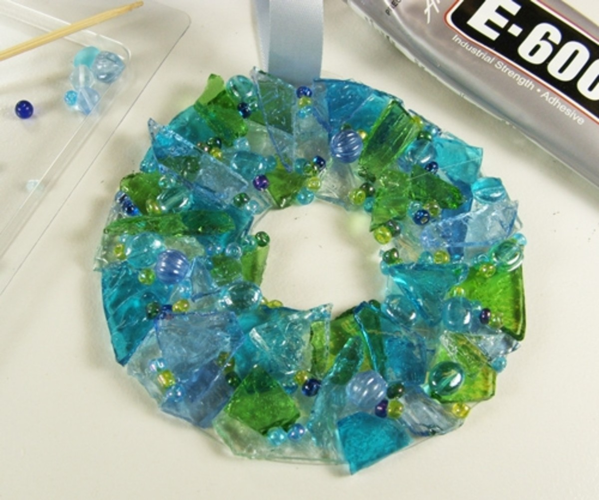 """9. The actual gluing of the beads can be the most """"cross-eyed"""" part of the project....those little tiny beads love to go flying in all directions so I have discovered that the easiest way for me to adhere them to the wreath (in the place where I want"""
