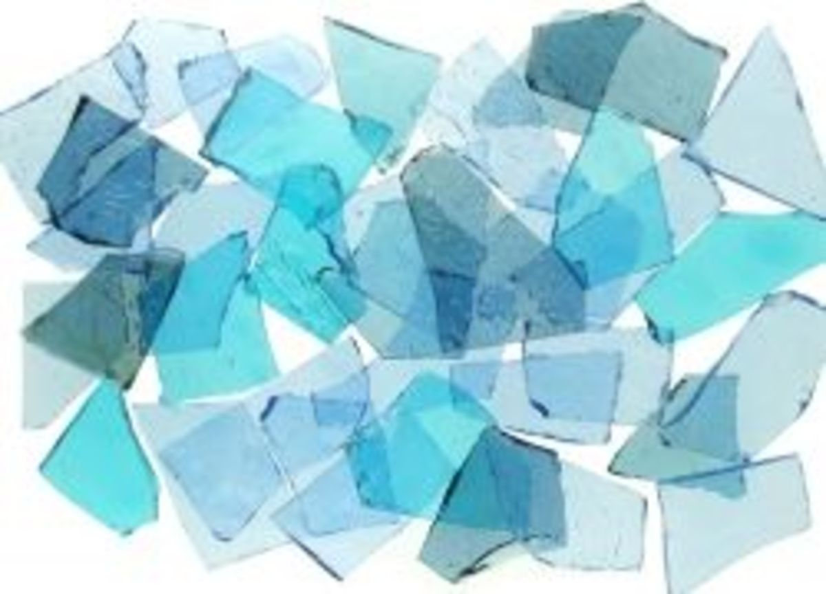 Mixed Blue Stained Glass Cobbles for use in glass mosaics and other craft projects