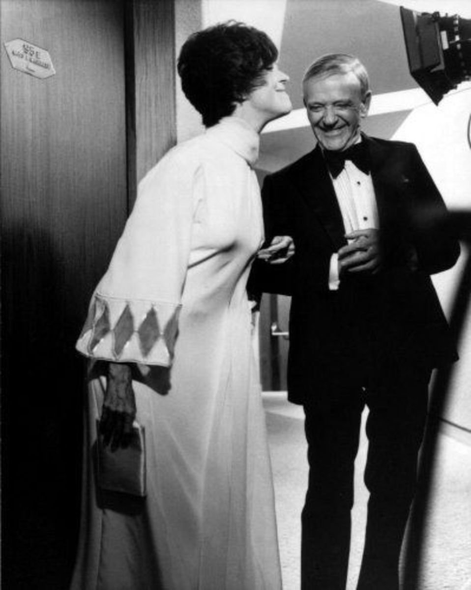 "Jennifer Jones and Fred Astaire in ""The Towering Inferno"""