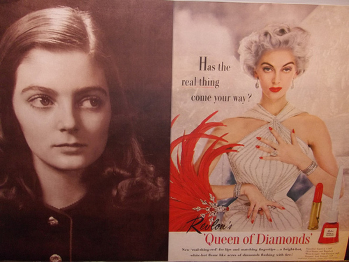 Carmen as a teen and in a much later advert.