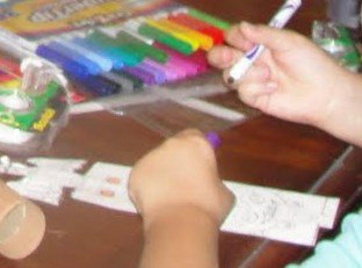 Coloring miniature totem pole