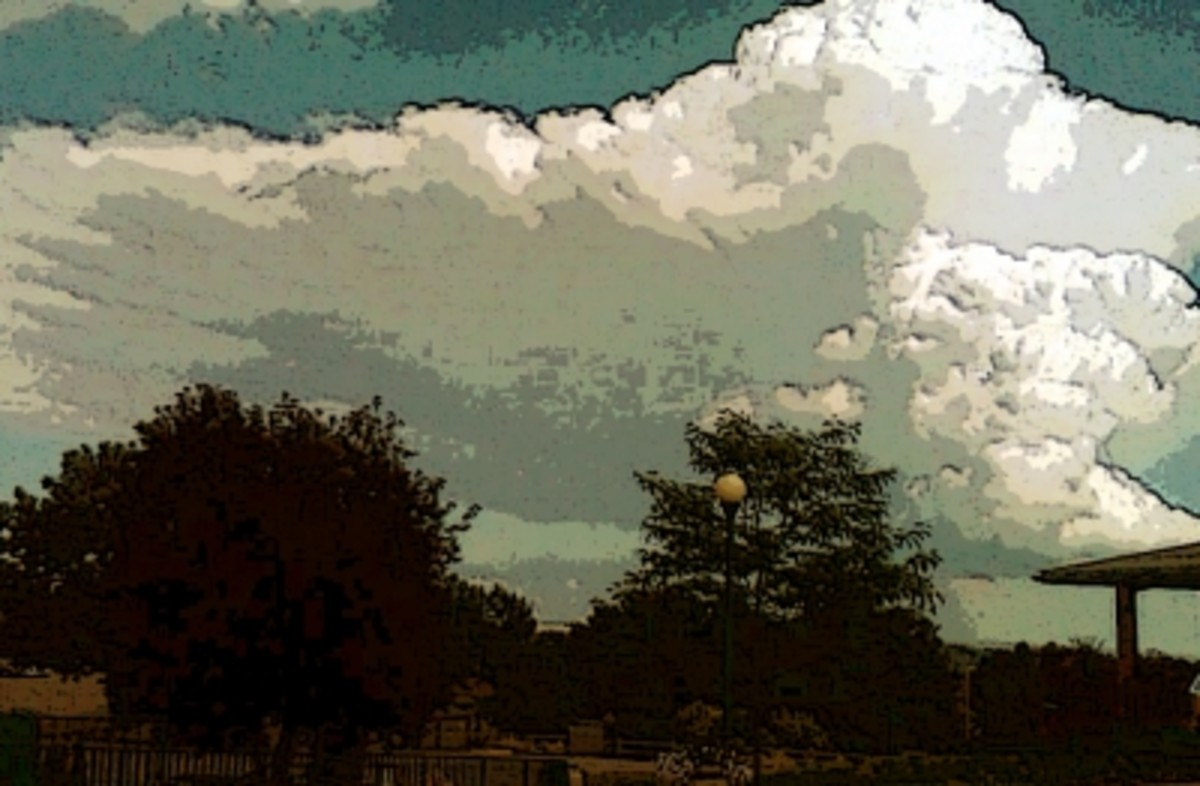 PhotoShop Watercolor Touch Up of the Bear Country Clouds photo below