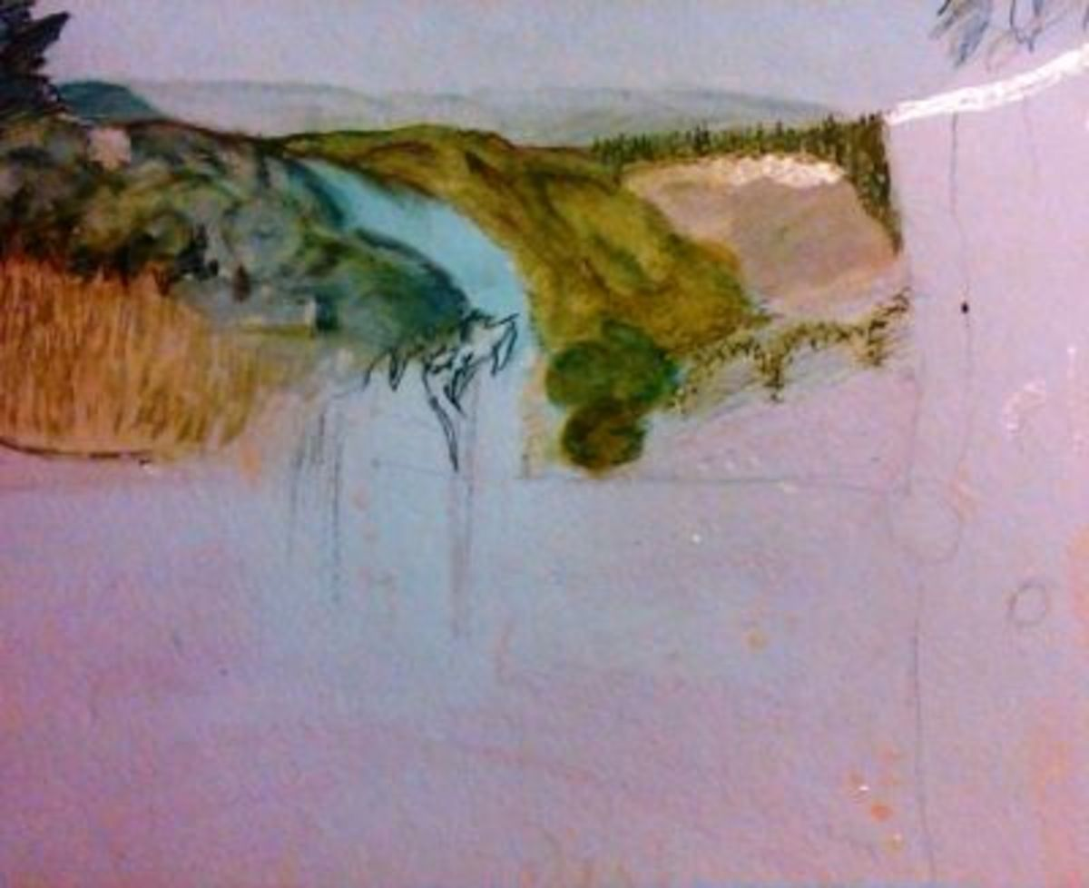 Step by Step Watercolor Step Two - Mask and start background wash