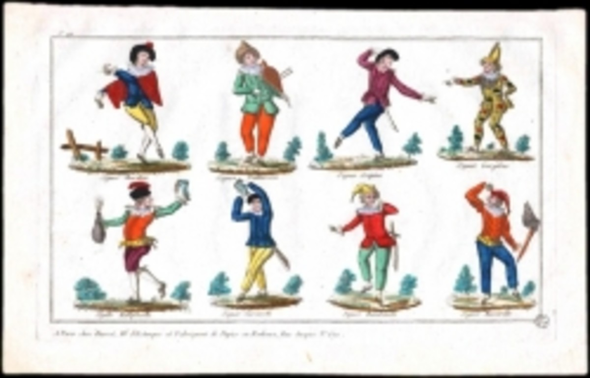 Italian comedy costumes, public domain